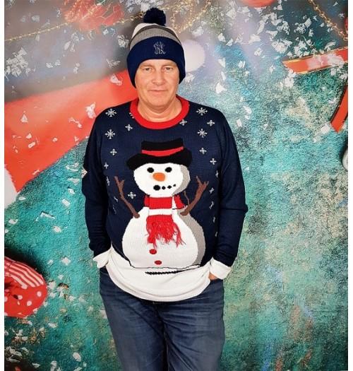 Kersttrui model Carrot nose blauw