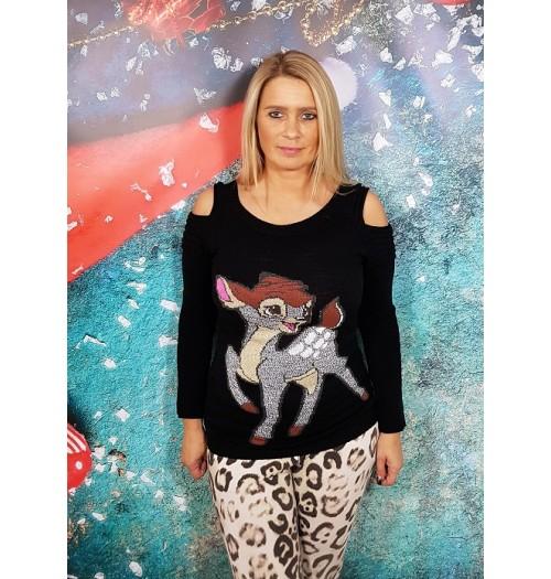 Kersttrui model Bambi open zwart