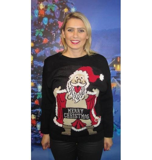 Kersttrui model Crazy Santa zwart