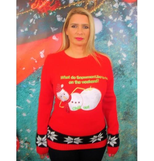 Kersttrui model Snowman Chill out