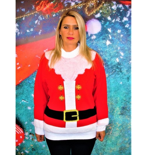 Kersttrui model Lady Santa knit
