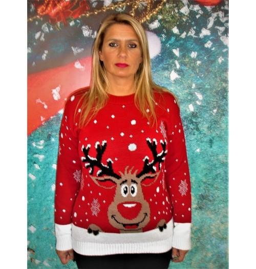 Kersttrui model How Nose rood zwart gewei