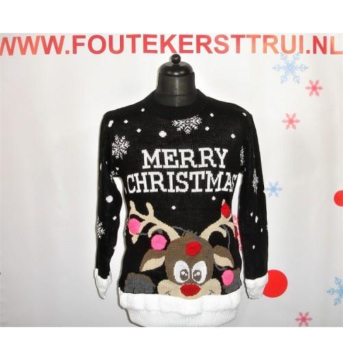 Zwarte Kersttrui.Kersttrui Model Merry Merry Christmas Zwart