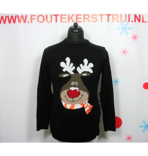 Kersttrui model Rudolpf zwart