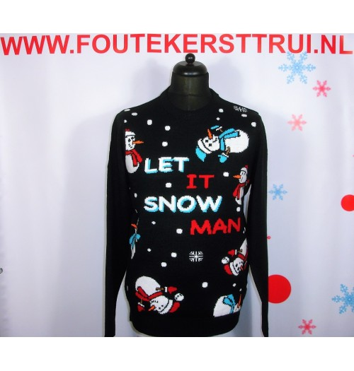 Kersttrui model Let it snowman