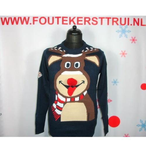 Kersttrui model Reindeer blauw