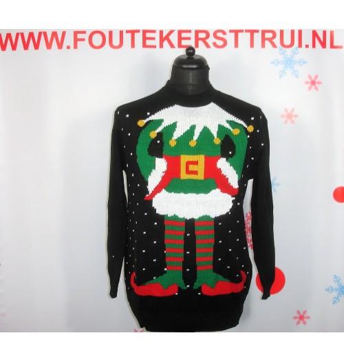 Kersttrui model Santas Nar zwart