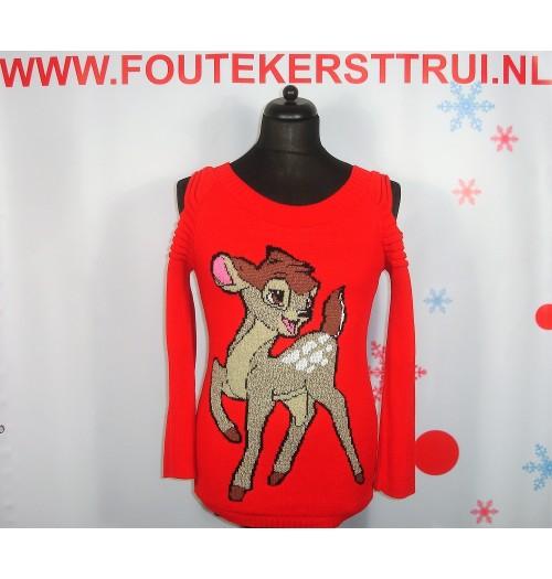 Kersttrui model Bambi open rood