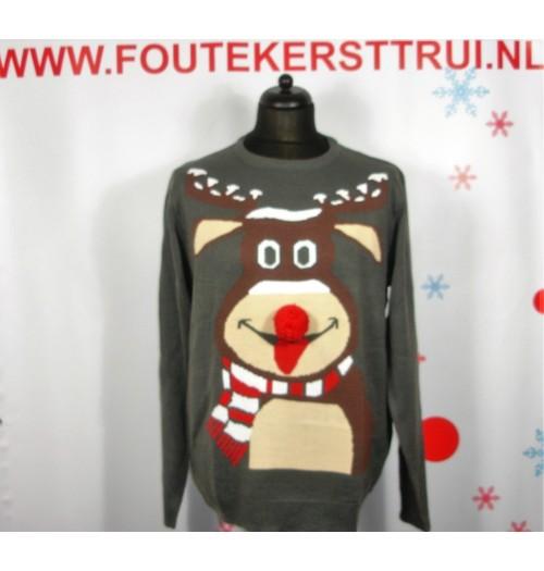 Kersttrui model Reindeer grijs