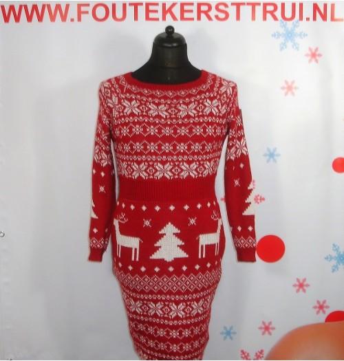 Kerstjurk model Snowman rood