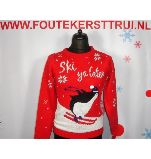 Kersttrui model Ski ya later rood