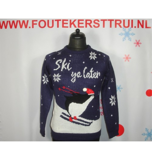 Kersttrui model Ski ya later blauw
