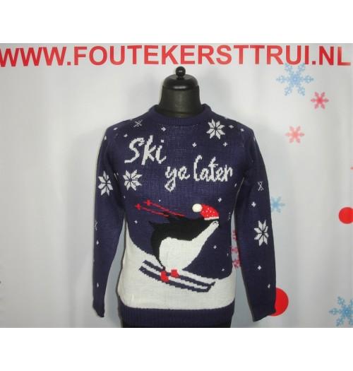 Kersttrui model Ski ya later blauw