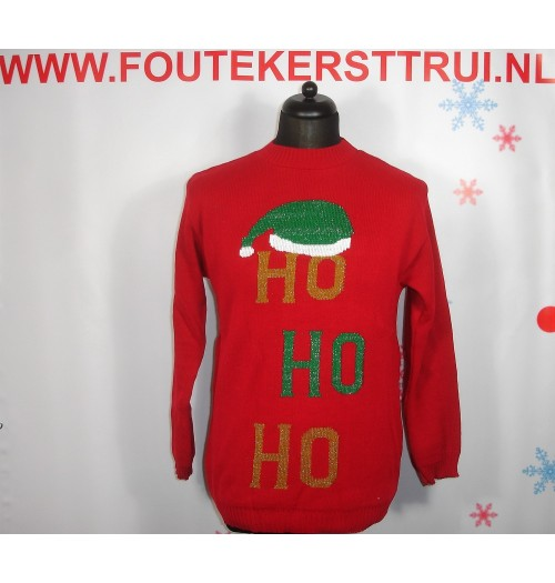 Kersttrui model Glitter Head Ho Ho Ho rood