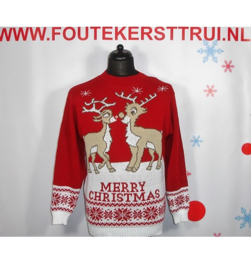 Kersttrui model Love merry rood creme