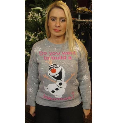 Frozen Kersttrui.Kersttrui Model Do You Want Grijs