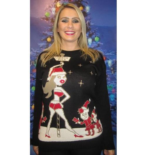 Kersttrui Olaf Dames.Kersttrui Model X Mas Dance Zwart