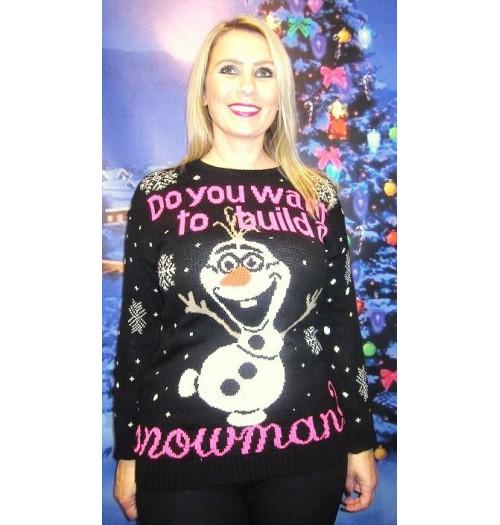 Kersttrui Olaf.Kersttrui Model Do You Want Zwart