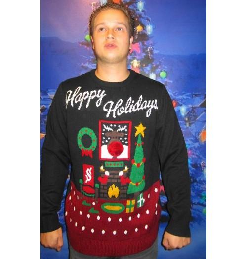 Kersttrui Lichtjes.Kersttrui Model Happy Holiday Met Lichtjes