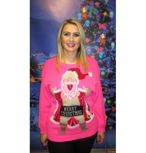 Kersttrui Met Lichtjes.Kersttrui Model Crazy Santa Rose